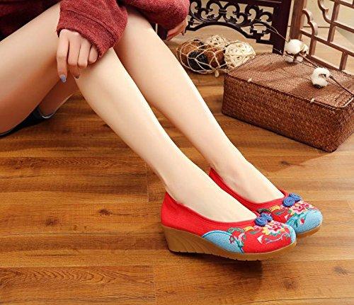 Gamuza Étnico Rojo Moda De Tendón Bordado Mn Zapatos Estilo Cómodo Baile Suela Zapatos Mujeres x8qFwYgp