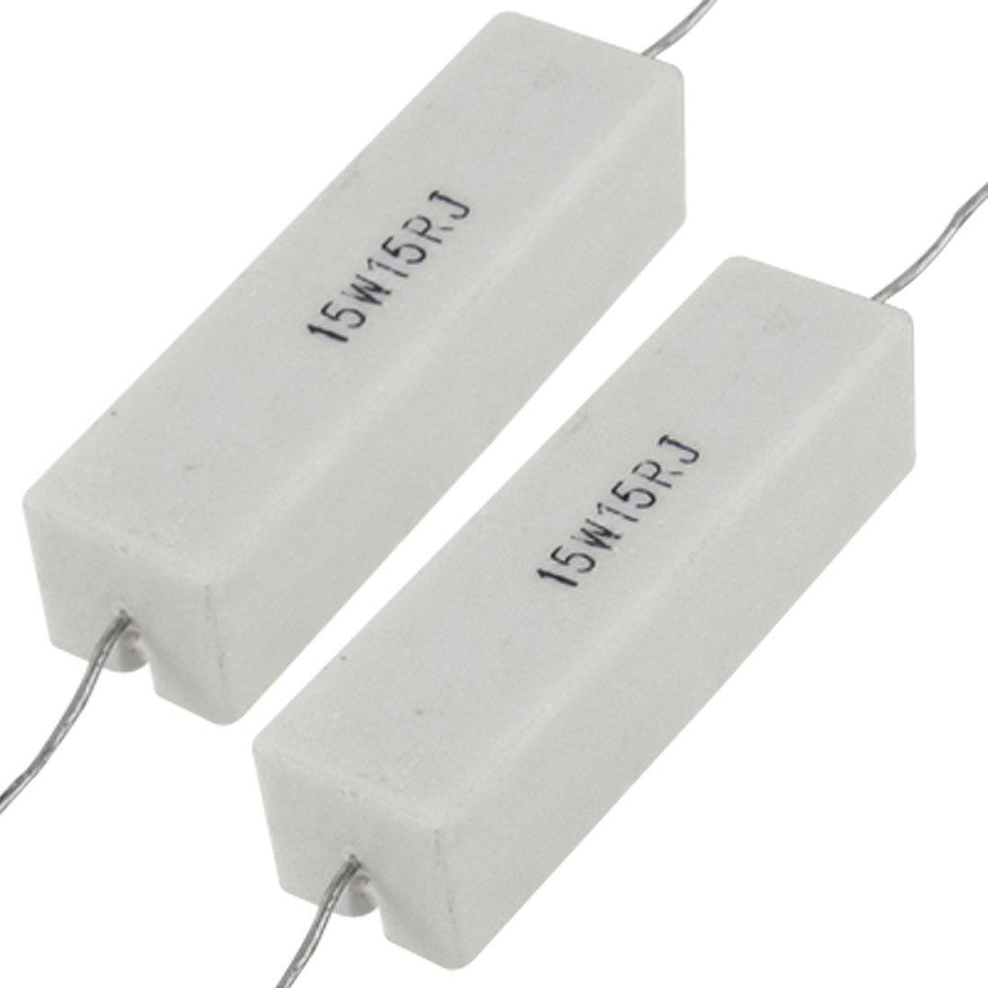 Uxcell a11111600ux0111 15 15R Ohm 5/% 15W Wirewound Ceramic Cement Resistor 2 Piece
