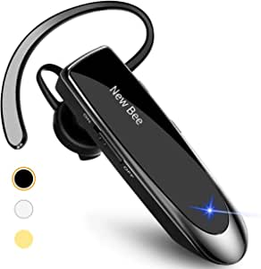Bluetooth Headset Handsfree Earpiece New Bee 24 Hrs Driving Headset with Noise Cancelling Mic Headsetcase 60 Days Standby Time for iPhone Android Samsung Laptop and More