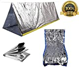 Sportsman Emergency Tent and Sleeping Bag Kit. This Mylar Reflective Thermal Shelter Is Best for Backpacking - Camping - Hiking - Survival Gear or Rescue Blanket.!
