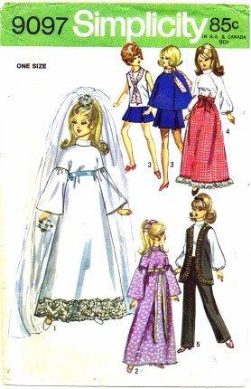 (Simplicity 9097 Sewing Pattern 11 1/2 inch Doll Wardrobe for Barbie Julia Maddie Mod)