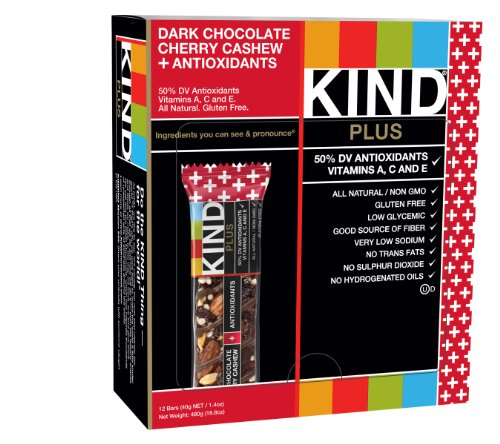 KIND Bars, Dark Chocolate Cherry Cashew + Antioxidants, Gluten Free, 1.4 Ounce Bars, 12 Count