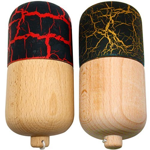 2 PACK - KENDAMA TOY CO. - The Best Kendama Pill For All Kinds Of Fun - Awesome Colors: Wood, Black/Red (top) and Black/Gold (top) Kendama Pill Set - Solid Wood - A Tool To Create Better Hand And Eye Coordination (Awesome Wood)