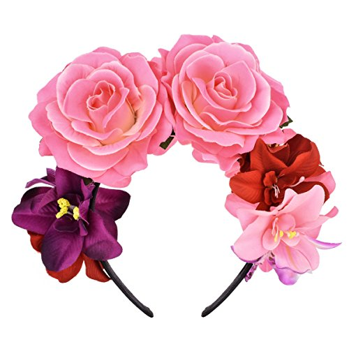 DreamLily Day of The Dead Headband Costume Rose Flower Crown Mexican Headpiece BC40 (Mexican Festival Crown Pink) -