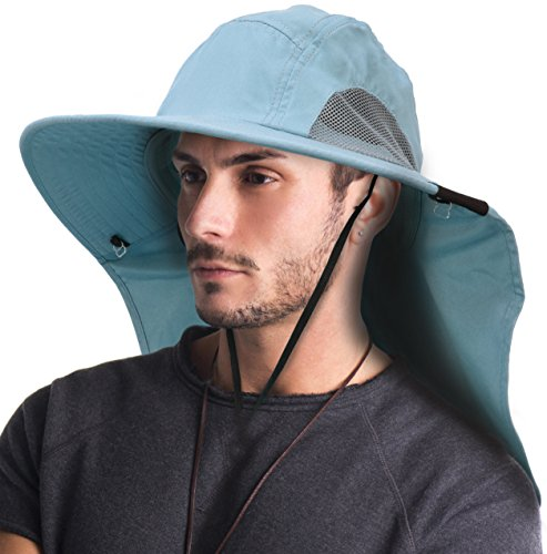 Terra Unisex Sun Hat Sun Protection Fishing Cap Safari Cap with Neck Flap/Wide Brim/Adjustable Strap for Hiking Hunting Boating Camping