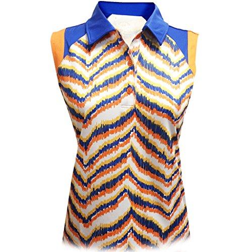 Monterey Club Ladies Dry Swing Zebron Sleeveless Contrast Shirt #2677 (Autumn Glory/Kalvin Blue, X-Large)
