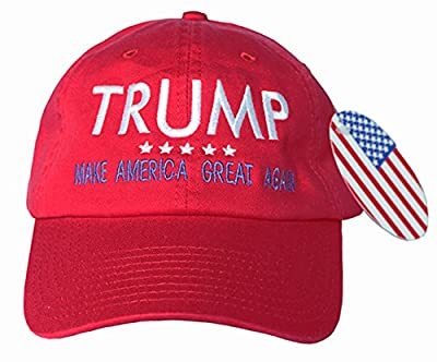 "USA MADE Trump EMBROIDERED Hat MAKE AMERICA GREAT AGAIN - Red Cap w/ Blue ""MAGA"""