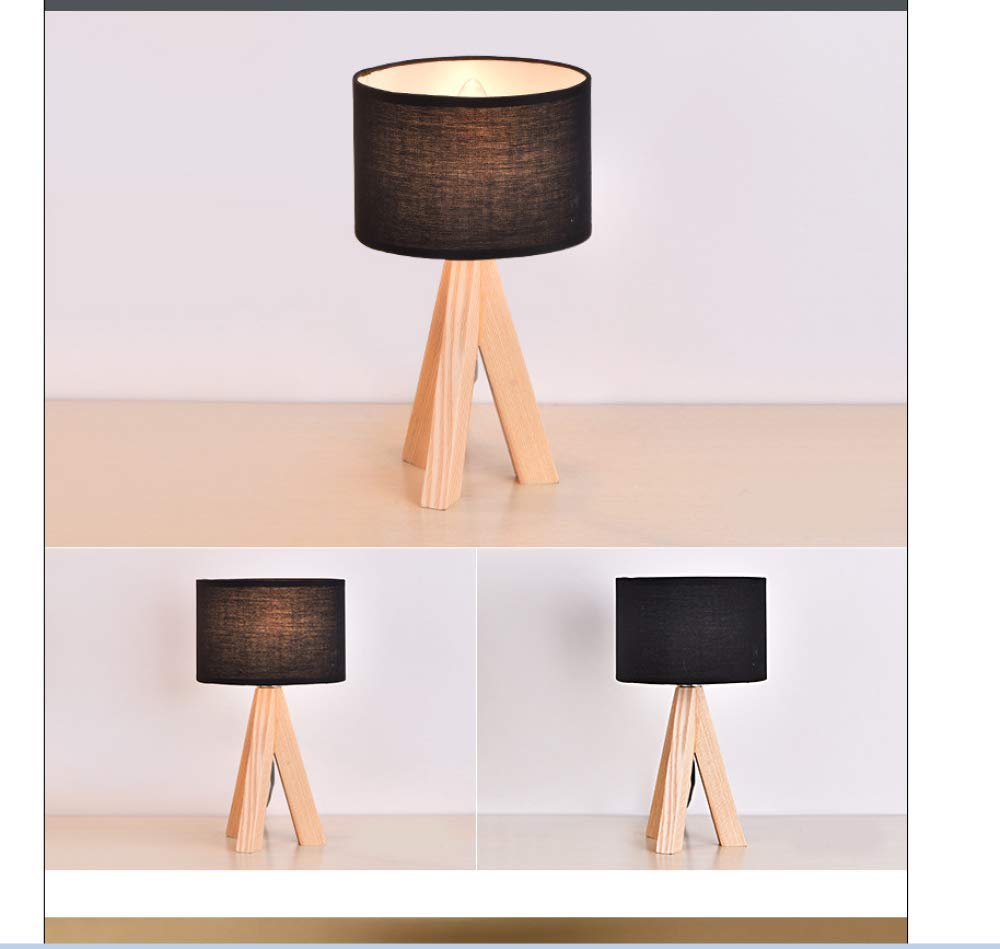 schwarz FYUUN Lampe De Bureau à LED Lampe De Table De Protection des Yeux En Tissu En Bois Massif Salon Chambre Bureau Bureau Lecture Travail Lampe De Chevet,schwarz