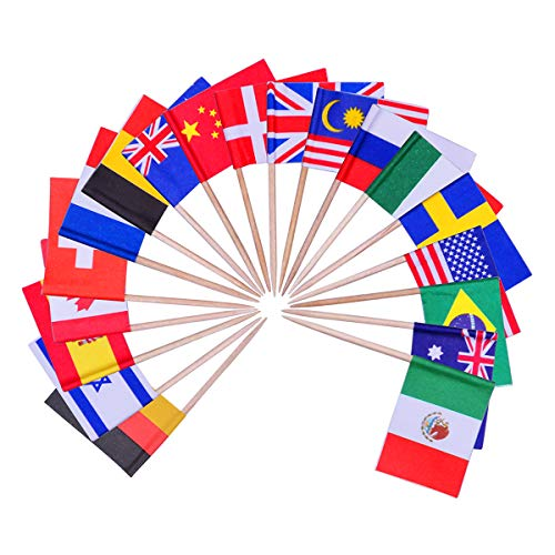 YoungRich 100 Pack World Flag Sticks International Flags and Banners Toothpicks Cocktail Sticks Cupcake Picks Banner Innovative Design One-off for Bar Sports Clubs Party Events Decoration Multicolor ()