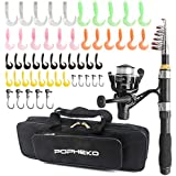 Telescopic Fishing Rod Reel Full Kit Fishing Line Lures for Beginner All-in-One 1.7M/5.58FT Light-weight Fishing rod+Spinning Reel+Line+Lures Set+Carry Bag for Kids Youth Outdoor Travel Bass Trout