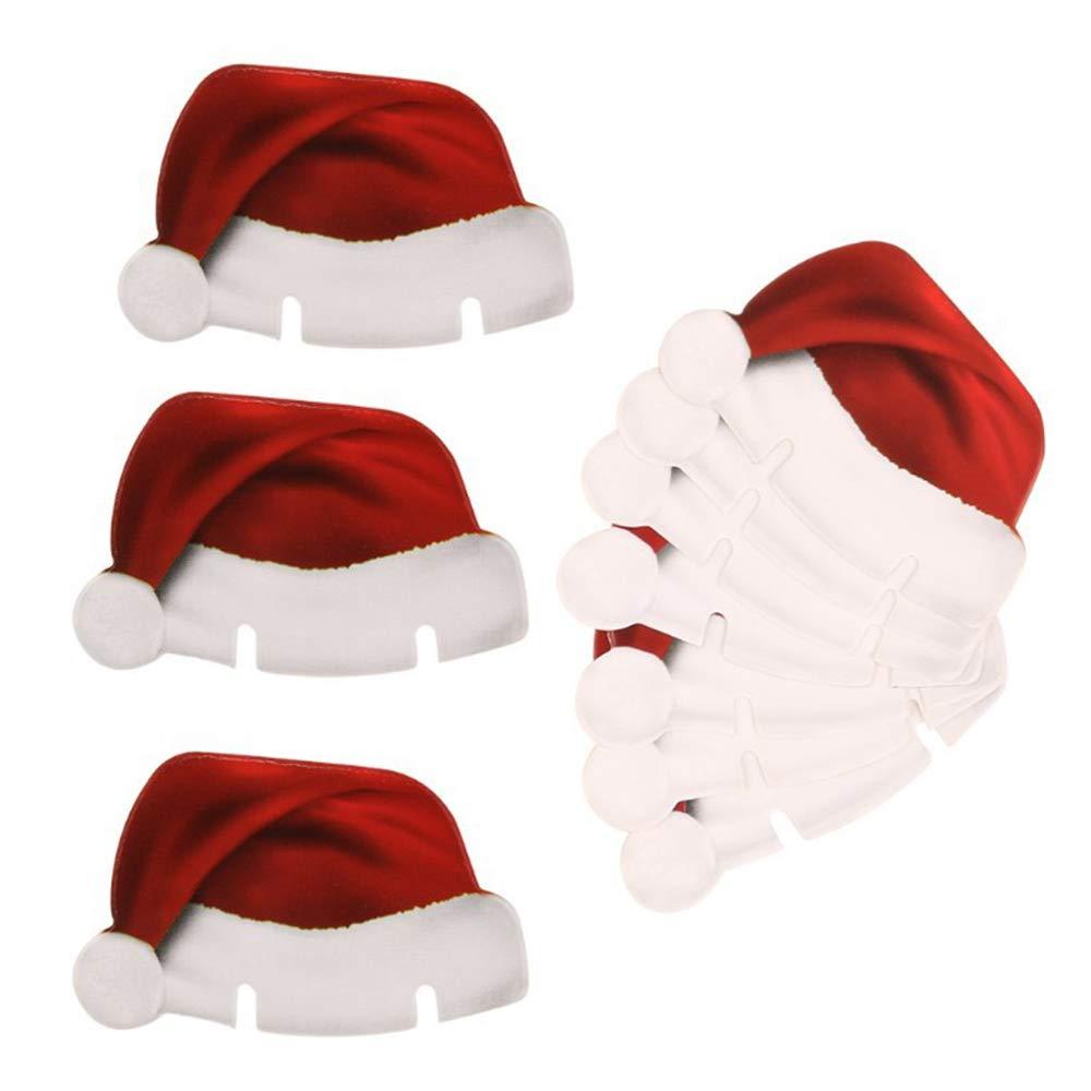 VEVICE 10pcs Carte de Verre à vin Décorations de Noël Père Noël Chapeaux pour fête Vacances de Noël