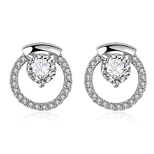 Earrings for Girls Sterling Silver Jewelry Steel Hoop Circle Zirconia Platinum Plating Valentine's Day ()