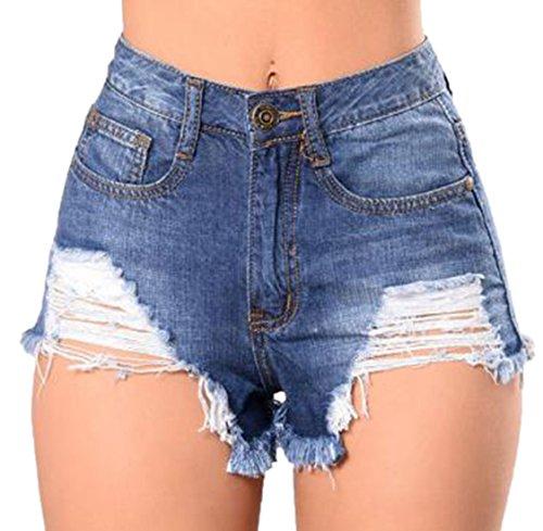 confit you - Damen Mini Jeansshorts mit Destroyed Effekten, XS-3XL, Blau
