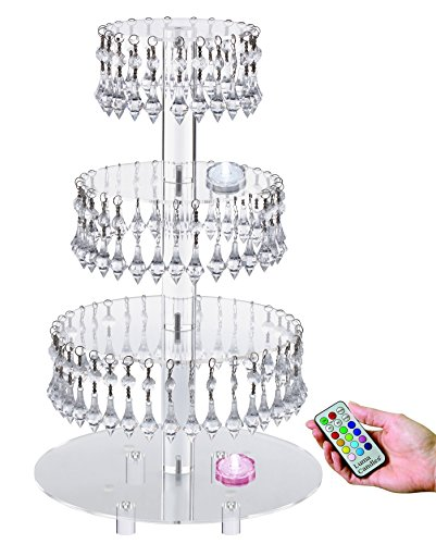 Pre-Installed Crystal Beads- 4 Tier Acrylic Cupcake Tower Stand with Hanging Crystal Bead-wedding Party Cake Tower (4 tier With Feet+LED Light) (Cake Base)