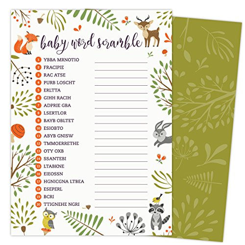 Woodland Baby Word Scramble Baby Shower Game. Pack of 50 5