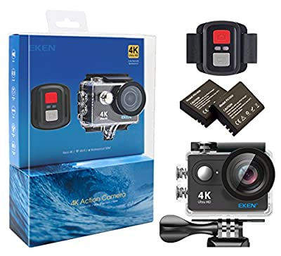 EKEN H9R 4K Action Camera, Full HD Wifi Waterproof Sports Camera with 4K25/ 1080P60/ 720P120fps Video, 12MP Photo and 170 Wide-Angle Lens, includes 18 Mountings Kit, 2 Batteries by EKEN