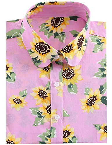 KIMIST Women's Casual Dress Button Down Sunflower Long Sleeve Work Shirts Blouses (Large, Pink Sunflower)