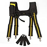 Tool Belt Suspenders|Padded Suspenders with movable phone holder Tape Holder Pencil holder,Flexible Adjustable Straps, suspenders Loop Attachments for carpenter electrician work Suspension Rig