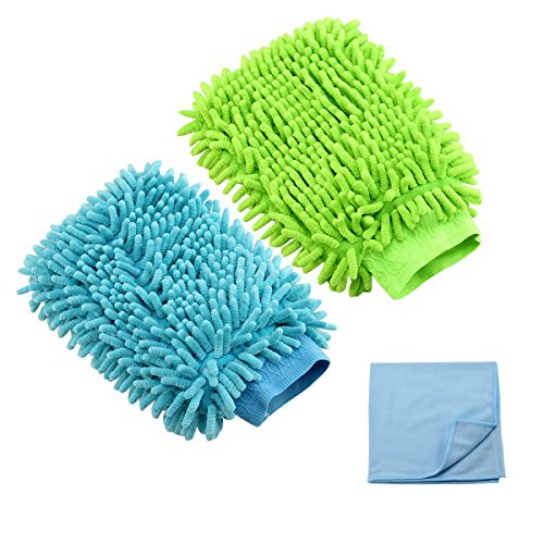 Habiter Premium Chenille Microfiber Car Wash Mitts,Wash Glove for Window Cleaning 2 Pack + 1 Glass Cloth (Car Wash Mitt On Stick compare prices)