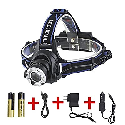 Boruit Zoomable Led Headlamp 3 Modes 1800 Lumens CREE XML T6 Bicycle Headlight 3-in-1 Multi Function