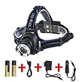 Boruit Rechargeable LED Head Lamps T6 Flashlight Headlamp with 3-in-1 Multi Functions 1800 Lumens