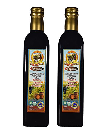 De La Rosa Real Foods & Vineyards - Organic Balsamic Vinegar of Modena (16.9 oz/500 ml) TWIN PACK by D