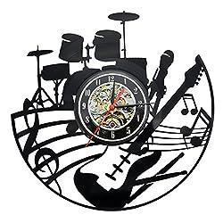 Guitar Music Instrument Vinyl Record Design Modern Clock for Living Room or Bedroom Art Home Decor (Style1)