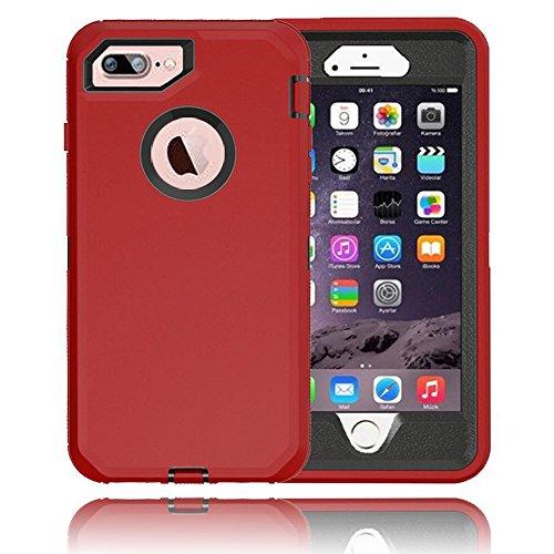 iPhone 8 Plus / 7 Plus / 6S / 6 Plus Premium Armor Defender Case (Red Black)