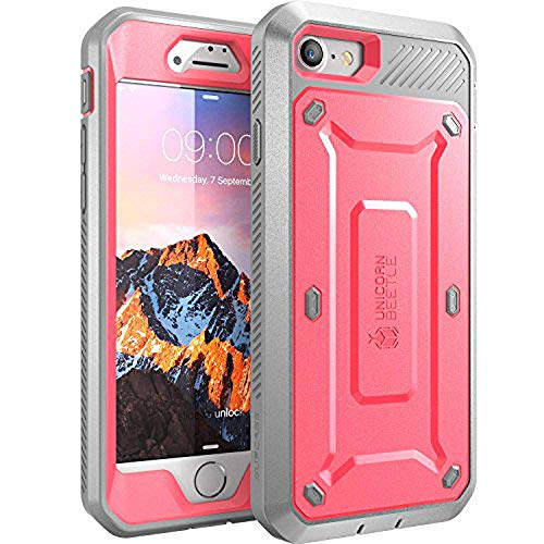 SUPCASE Unicorn Beetle Pro Series Case Designed for iPhone 8 Case, Full-Body Rugged Holster Case with Built-In Screen Protector for Apple iPhone 7 2016 / iPhone 8 (2017 Release) (Pink)