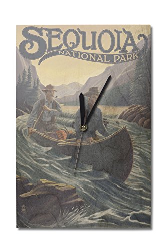 (Sequoia National Park - Canoe in Rapids (10x15 Wood Wall Clock, Decor Ready to Hang))