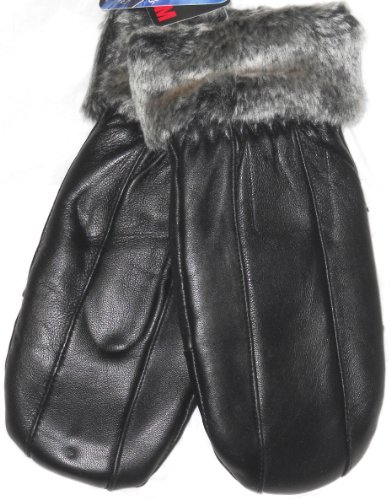 Genuine Black Leather Fur Cuffs Ladies Mittens (Small/Med)