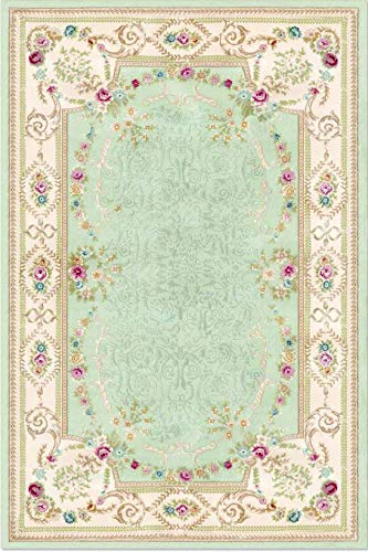 DiscountWorld Floral Oriental Light Green Area Rug with Non Slip Rubber Backing 5'3