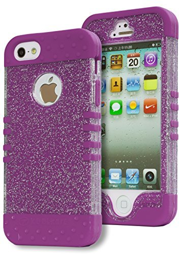 iPhone SE Case, Bastex Heavy Duty Hybrid Protective Case - Soft Neon Purple Silicone Cover with Clear Sparkly Glitter Design Shell for Apple iPhone SE, 5, 5S, 5G