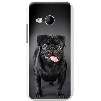 Carcasa rígida para teléfono móvil, diseño de perro de raza carlino, plástico, Happy Black Pug, HTC One Mini 2