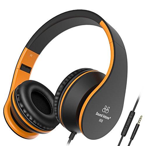 Kinder/Erwachsene Kopfhörer Honstek I68 Stereo Headphones Faltbar for Handy iPhone Samsung Sony iPad for Flugzeug Reise Schwarz Orange