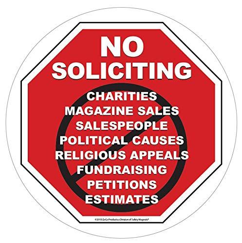 「No Soliciting Sign」静電気ウィンドウステッカー、自宅やビジネス用 – 簡単に取り外して再配置 – 約 6×6インチ - より大きなサイズ。 B07QRT3GLN
