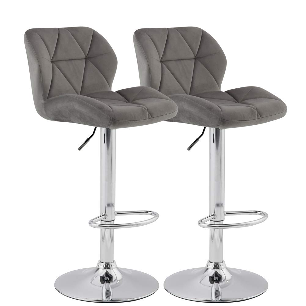 KYOTECH Modern Flannel Adjustable Swivel Bar Stools with Back, Set of 2, Home Kitchen Counter Bar Chair(Grey) by KYOTECH