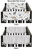 Sweet Jojo Designs 2-Piece Blue Gray and White Woodland Animals Teething Protector Cover Wrap Baby Boy Crib Side Rail Guards
