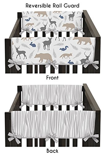 Sweet Jojo Designs Blue Gray and White Woodland Animals Teething Protector Cover (Wood Side Rail)