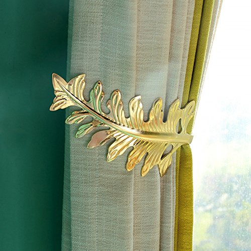 BERTERI Decorative Leaf Shape Holdback 2Pieces Metal Wall Mounted Curtain Tie Back for Home Decor (Gold)