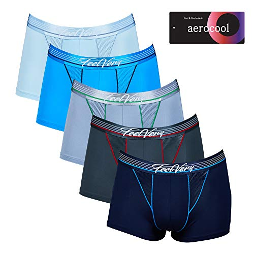 Feelvery Men's Cool Mesh Air-Ventilation Sporty Performance Boxer Briefs Underwear - 5 Pack (Short, X-Large)