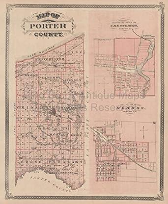 Porter Indiana Map.Amazon Com Porter Lake County Indiana Vintage Map Baskin 1876