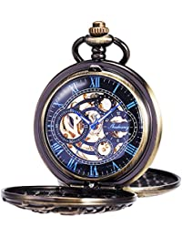 Mens Antique Skeleton Mechanical Pocket Watch with Chain- Dragon Hollow Hunter