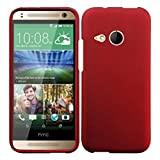 HR Wireless Rubberized Cover for HTC One Remix M8 Mini - Retail Packaging - Red