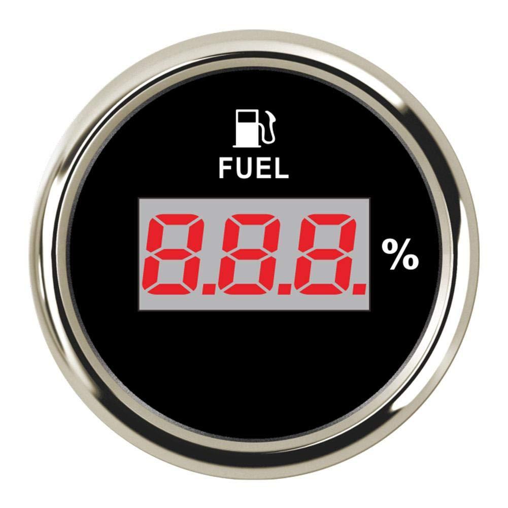 Molare Medidor Digital de Nivel de Combustible con retroiluminaci/ón roja para Barco se/ñal de 0 a 190 Ohm Motocicleta Coche