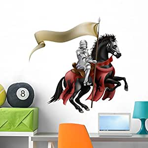 Knight Horse with Flag Wall Mural by Wallmonkeys Peel and Stick Graphic (36 in W x 35 in H) WM336925