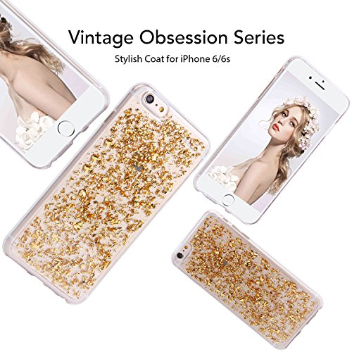 iPhone 6 6s Hülle, Imikoko® Transparent Glitzer Klar Crystal Weich Schutzhülle Case Hülle TPU Silikon mit Flocken Design Cover für iPhone 6 6S(4.7 roll, Golden)