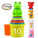 #9: Homder The First Years Nesting & Stacking Up Cups with Numbers & Animals for Kids Toddlers Early Educational Stacker Toys,11 Pack