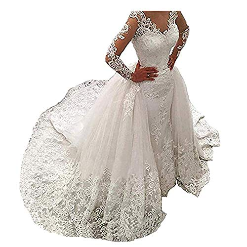 Women's Wedding Dress for Bride Mermaid Long Sleeve Lace Wedding Dress Bridal Gowns Detachable Train (White, 26W)