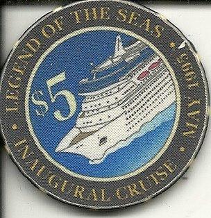 $1 royal caribbean legend of the seas at sea casino cruise chip may 1995 super rare
